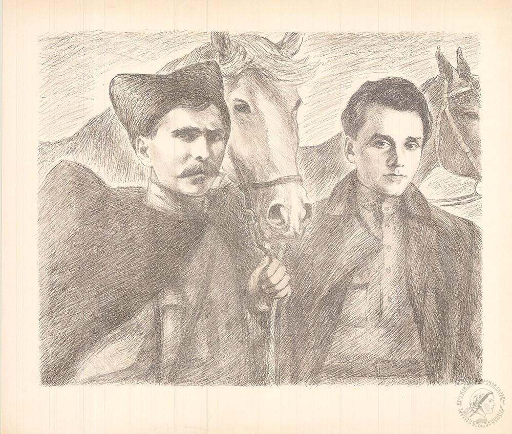 Литография «Чапаев и Фурманов»