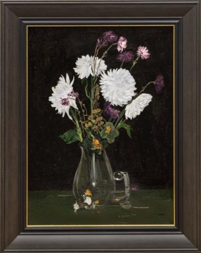 Картина «Натюрморт с васильками и астрами в вазе»