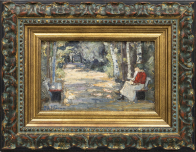 Картина «Двое на скамейке в аллее парка»