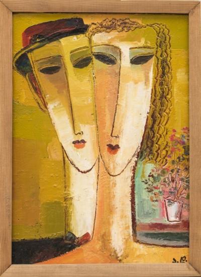 Картина«Двойной портрет с цветами»