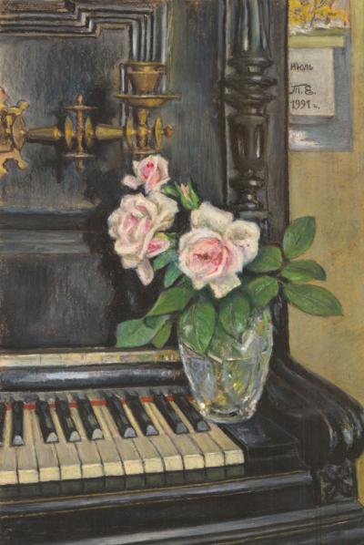 Натюрморт «Розы на пианино»