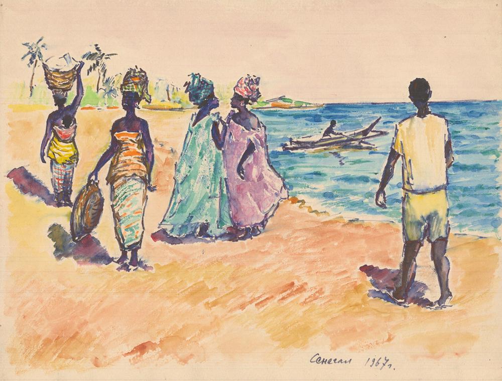 Акварель «Сенегал. На берегу»