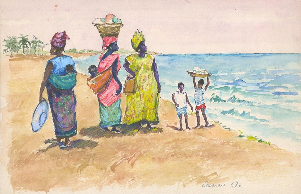 Акварель «Сенегал. Женщины у моря»