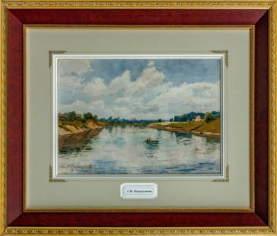 Старинная акварель «Пейзаж с рекой» 1880-1890 годы