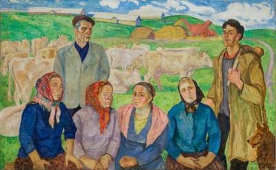 Картина «Передовые люди молочной фермы им. Фрунзе»