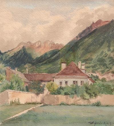 Акварель «Домик у подножия горы»