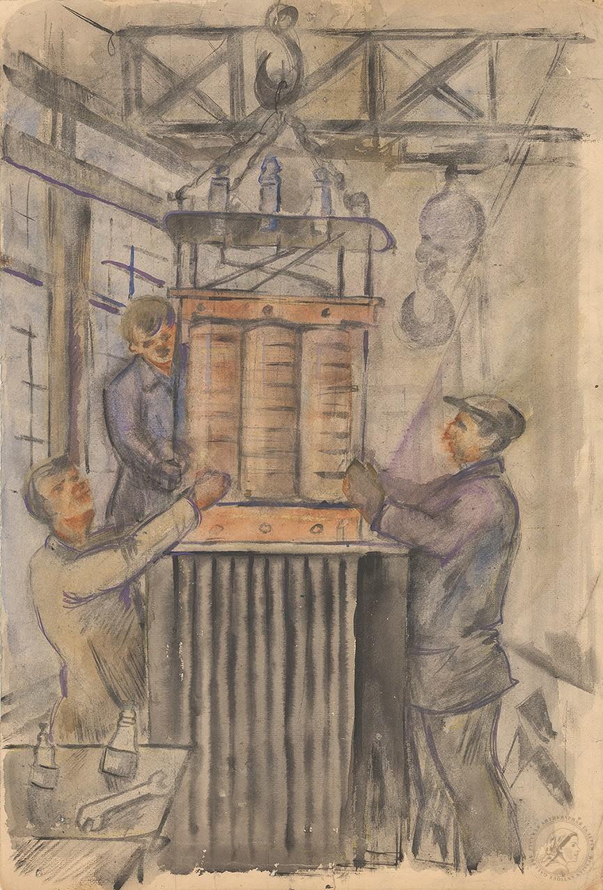 Рисунок «Рабочие на заводе»