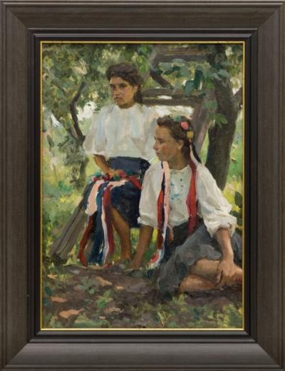 Картина «Мать и дочь в саду»