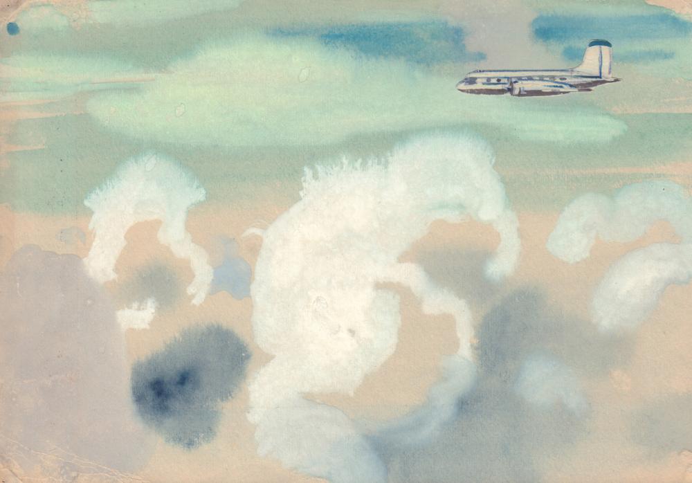 Рисунок «Самолет над облаками»