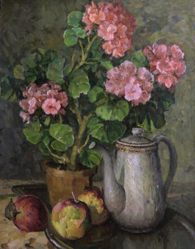 Натюрморт «Герань, чайник и яблоки»