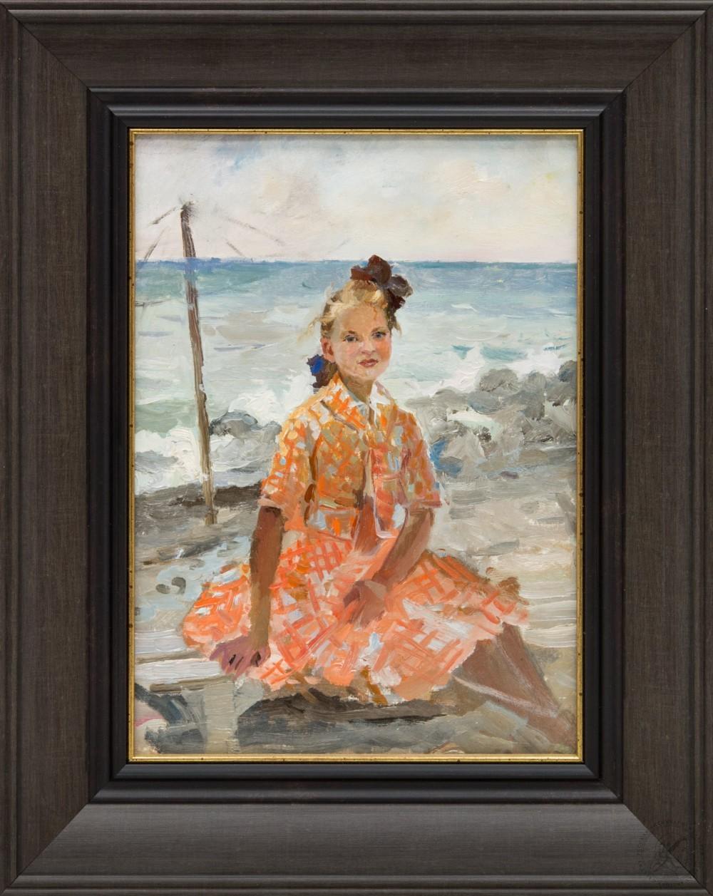 Картина «Портрет девушки в оранжевом платье»