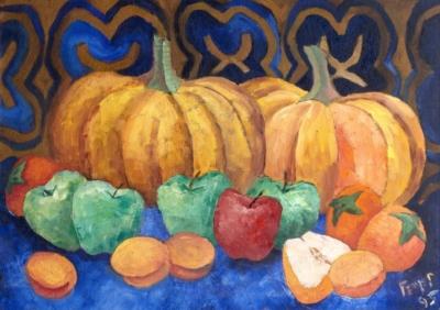 Картина «Натюрморт с тыквой, яблоками и хурмой»