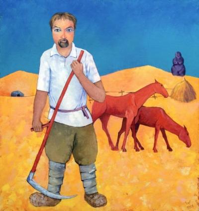 Картина «Косарь и красные кони»