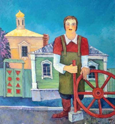 Картина «Кузнец и красное колесо»