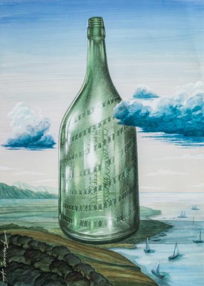 Григорьев. Бутылка. СССР,1980-е гг. Бумага, смешанная техника. 70 Х 50 см. Подпись слева внизу