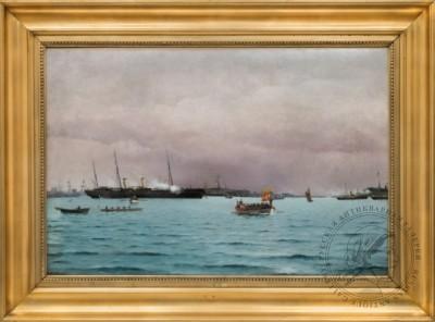 Картина «Торжественный спуск Российской императорской семьи с яхты «Держава», стоящей на рейде Копенгагена»