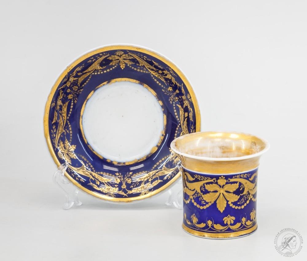 Чайная пара «Растительный орнамент на синем фоне»