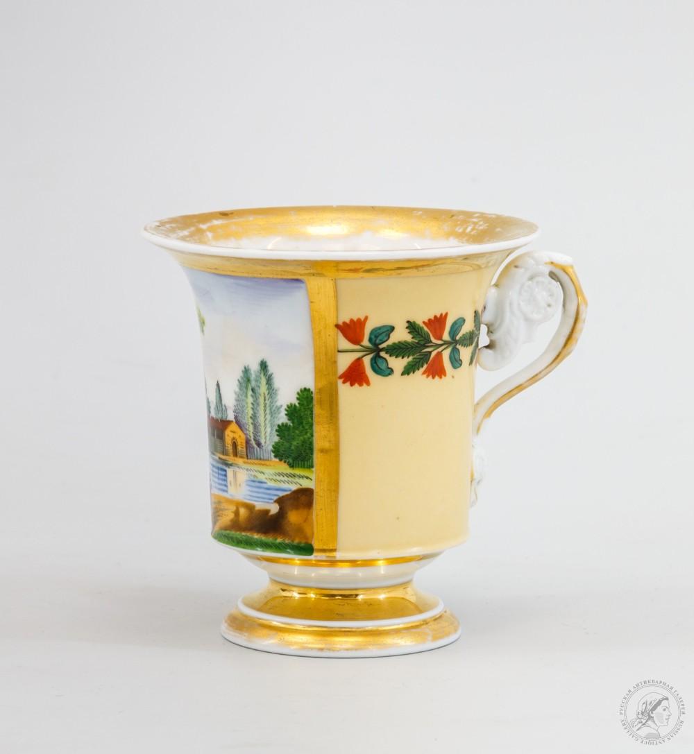 Фарфоровая чашка в стиле ампир «Прогулка вдоль озера» Гарднер