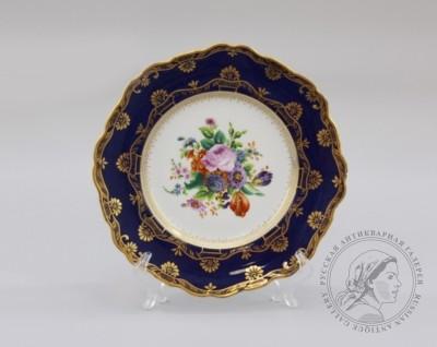 Тарелка декоративная с букетом в зеркале. Императорский фарфоровый завод (марка Николай I)