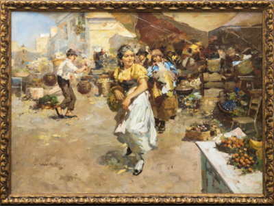 Старинная картина «Испанский базар»