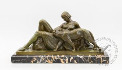 Бронзовая композиция в стиле Ар-Деко «Девушка и пантера»