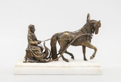 Статуэтка бронзовая «Граф А. Г. Орлов — Чисменский в санях, запряженных барсом»