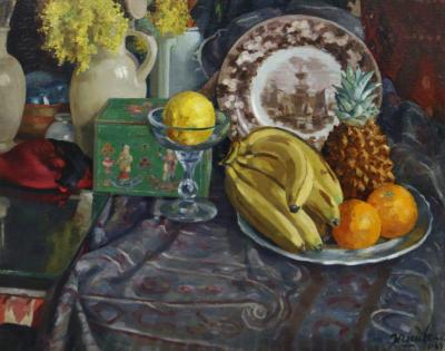 """Картина """"Натюрморт с фруктами в интерьере"""""""