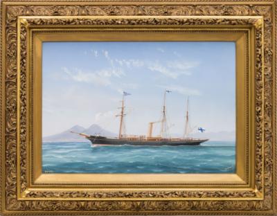 Яхта Форос на фоне на фоне Везувия