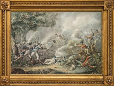 Старинная акварель «Бой английской кавалерии с французской пехотой»