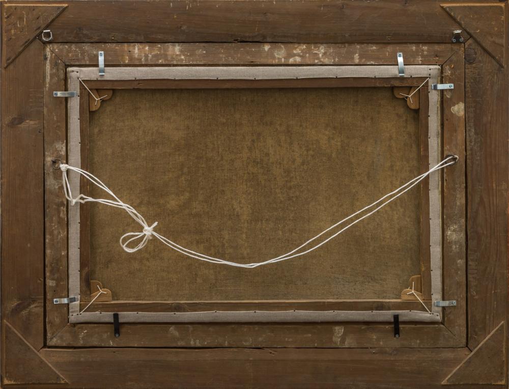 Старинная картина «Грибы и лукошко»