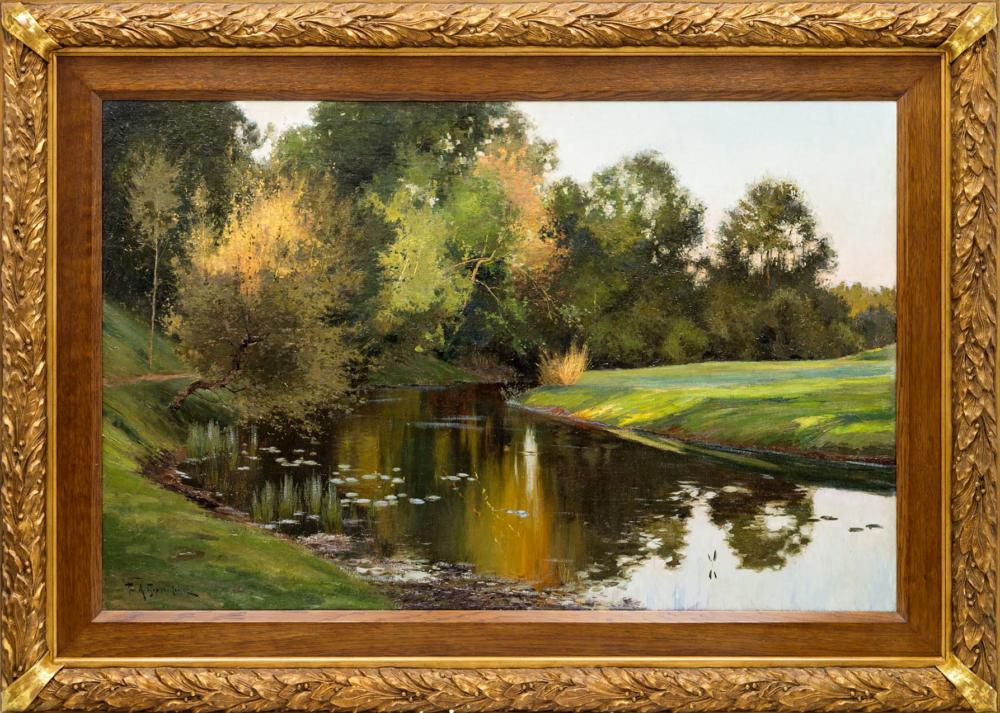 Старинная картина «Излучина реки»