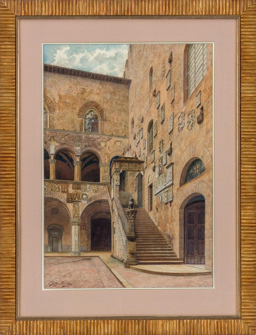 Старинная акварель «Внутренний двор Палаццо Веккио во Флоренции»