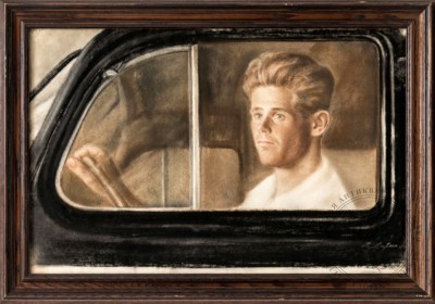 Литко В.Е. Портрет мужчины за стеклом автомобиля