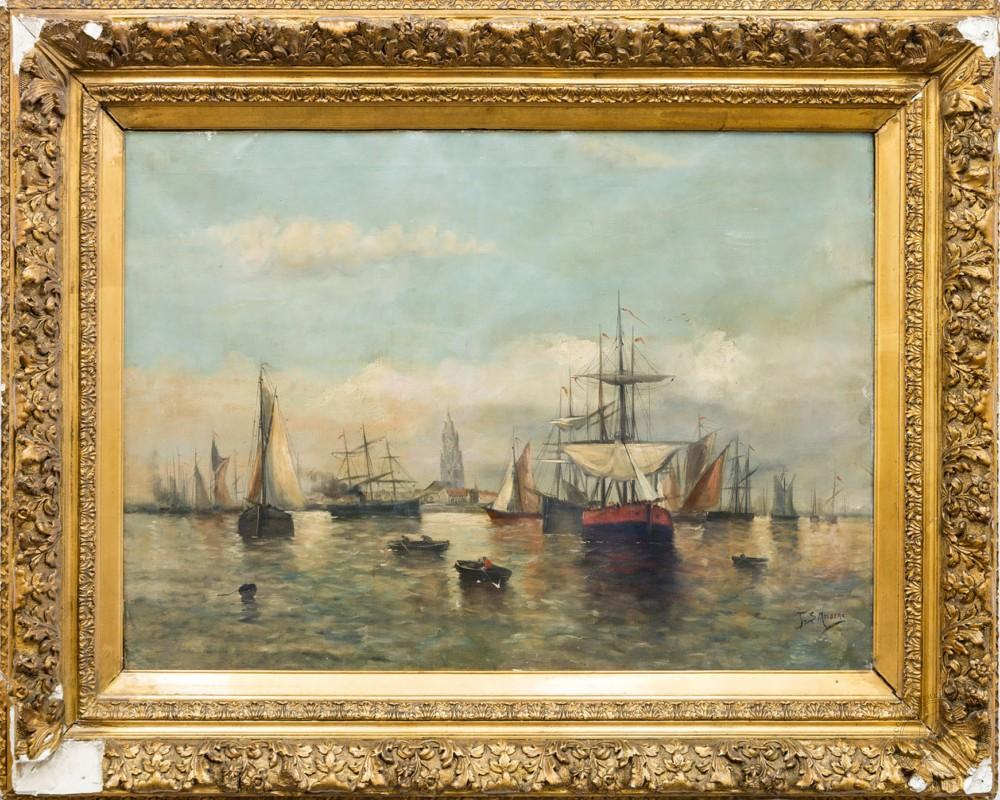 Старинная картина «Морской пейзаж»