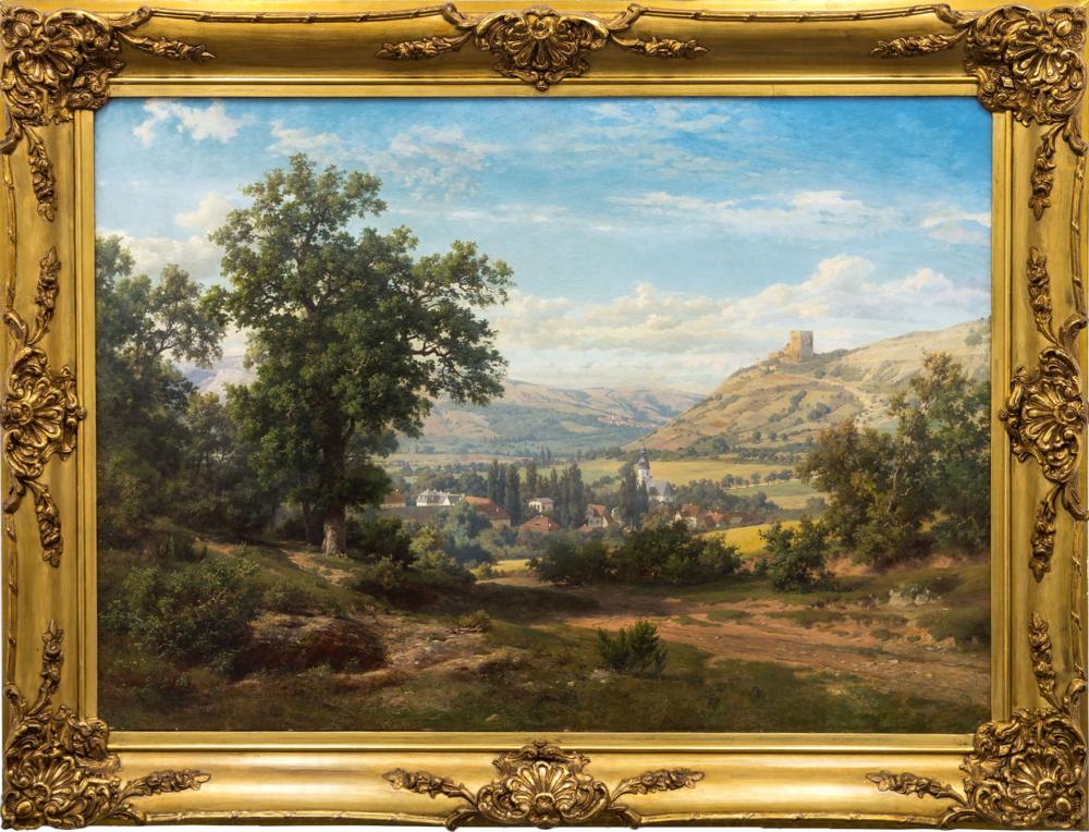 Антикварная картина «Горный пейзаж с руинами замка»