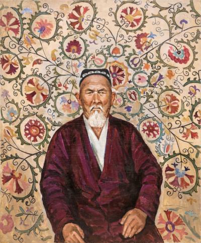 Портрет старика на фоне восточного ковра