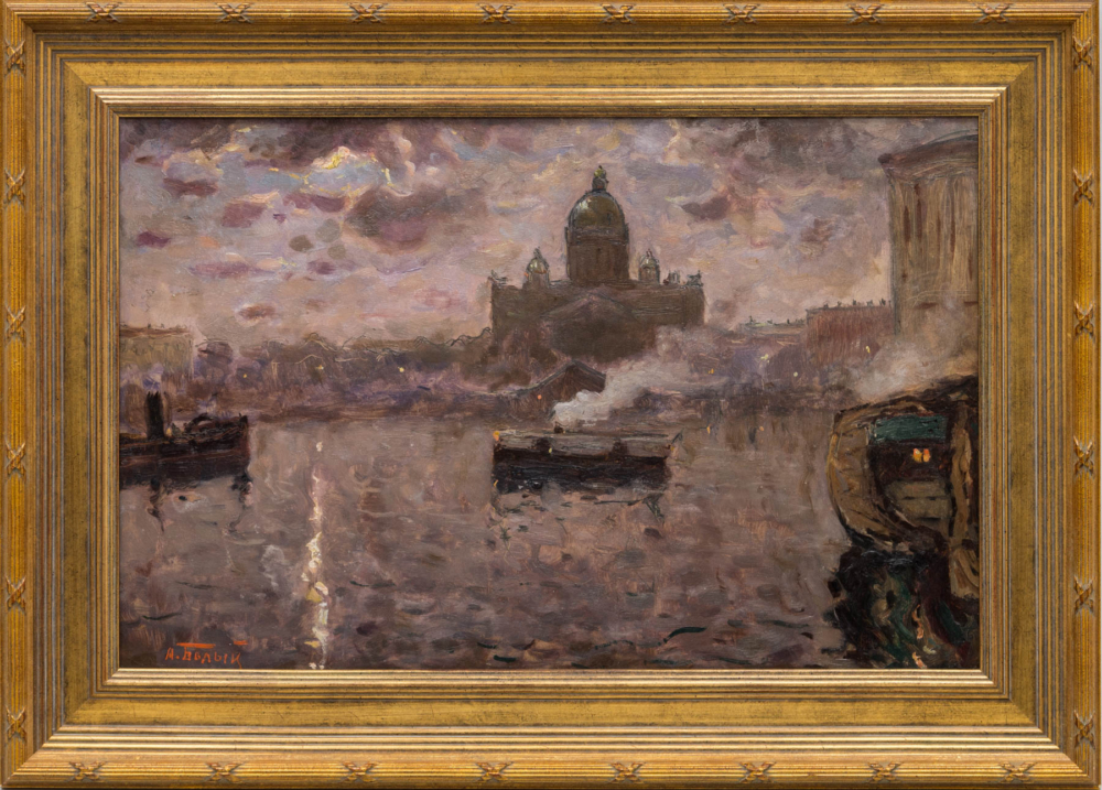 Картина старинная «На Неве» 1910 годы