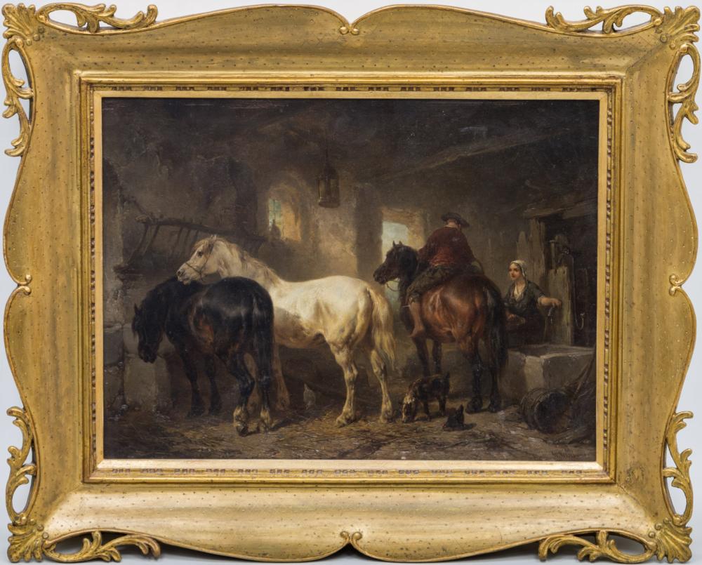 Старинная картина «В конюшне»
