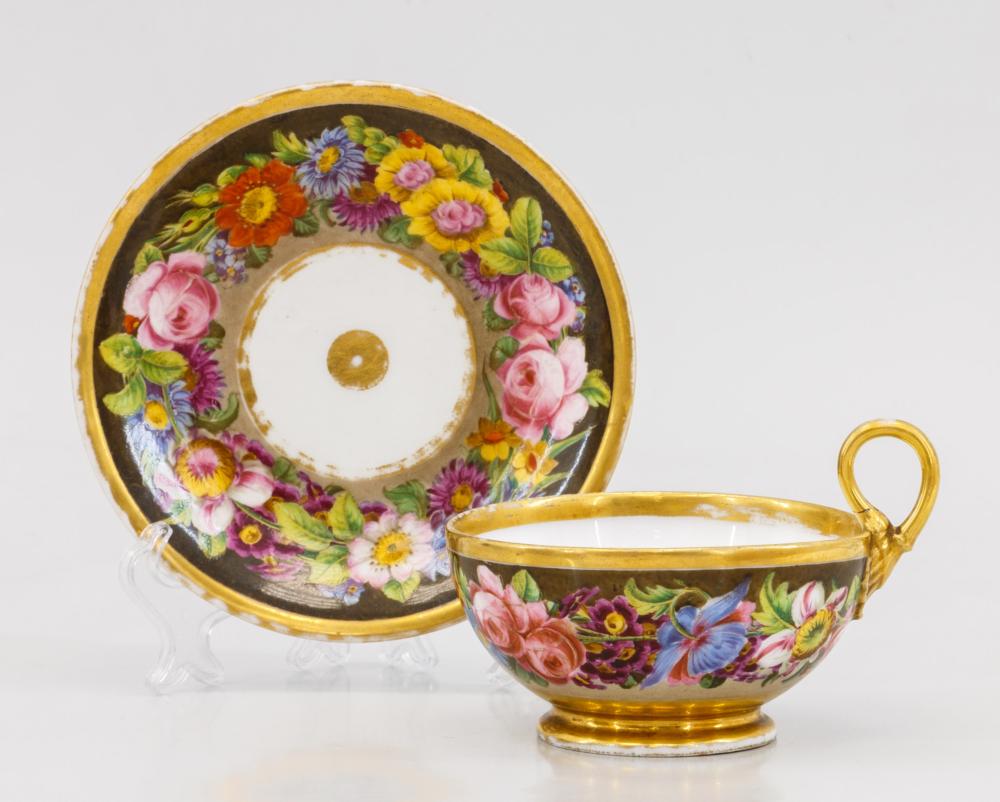Фарфоровая чайная пара с цветочным декором