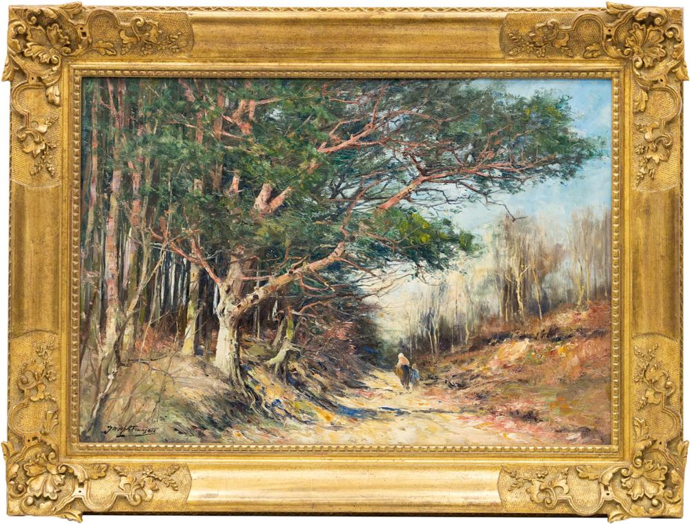Картина «Женщина с ребенком в весеннем лесу»