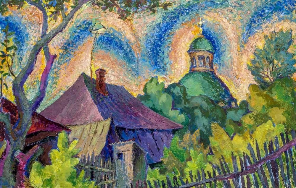 Картина «Летний пейзаж с храмом»