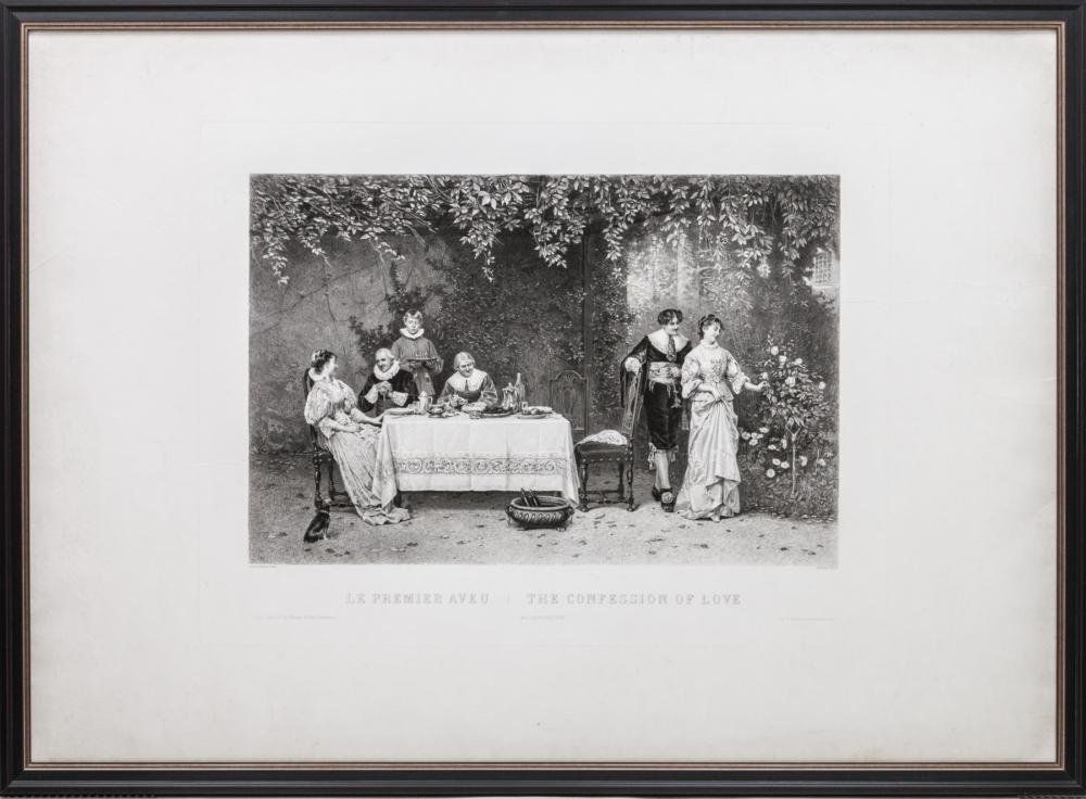 Гравюра c картины «Признание в любви»