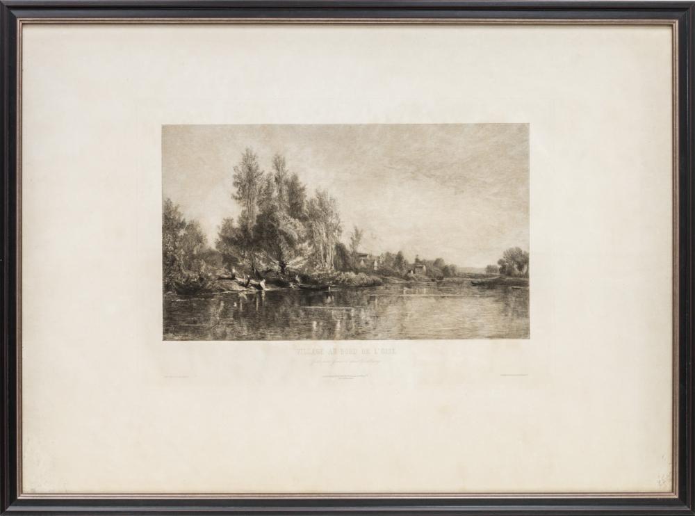 Гравюра «Деревня у берега реки Уаза»