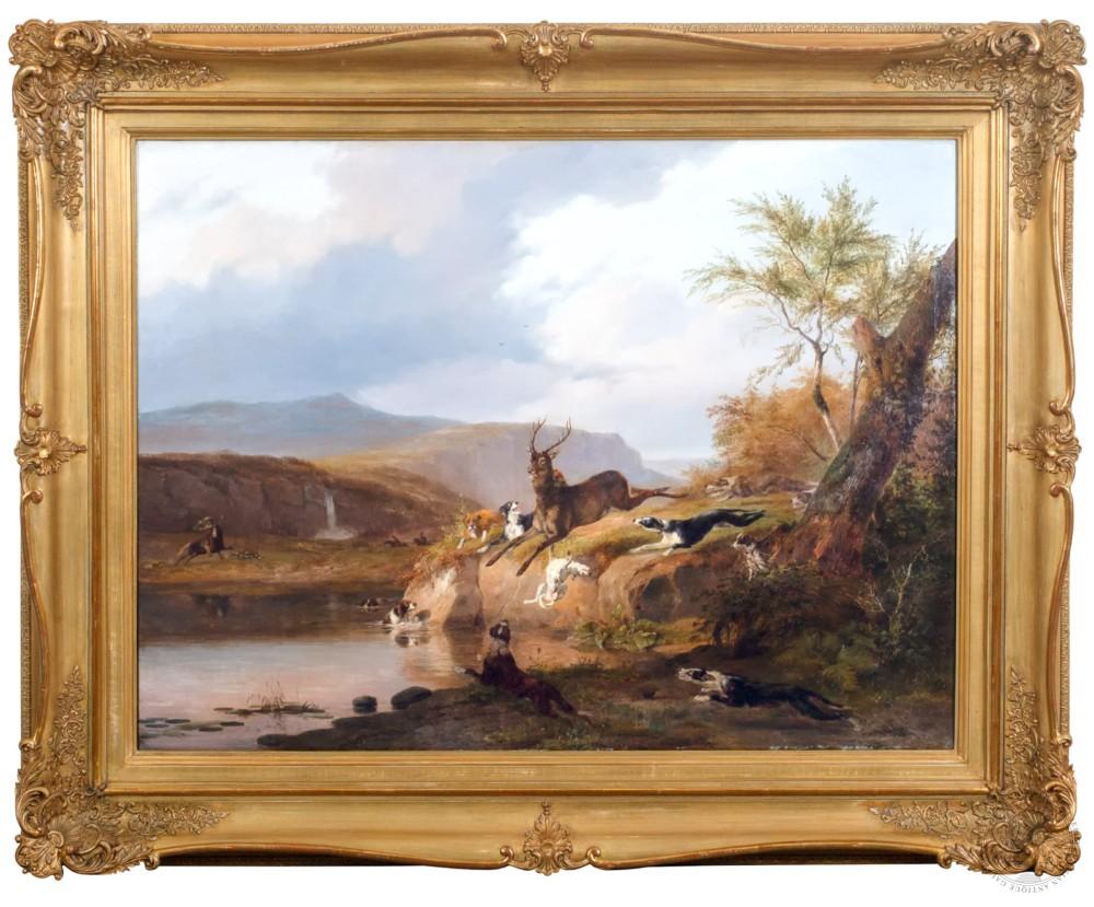 Старинная картина «Охота на оленя»