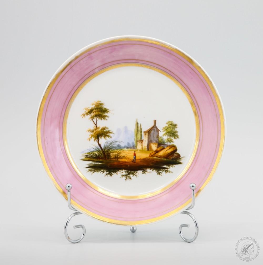 Тарелка с романтическим сельским пейзажем