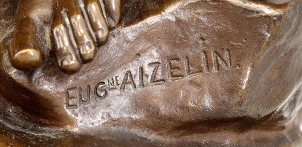 Часы каминные на каменном основании с бронзовой скульптурой «Нимфа Диана» скульптора Eug?ne Antoine AIZELIN