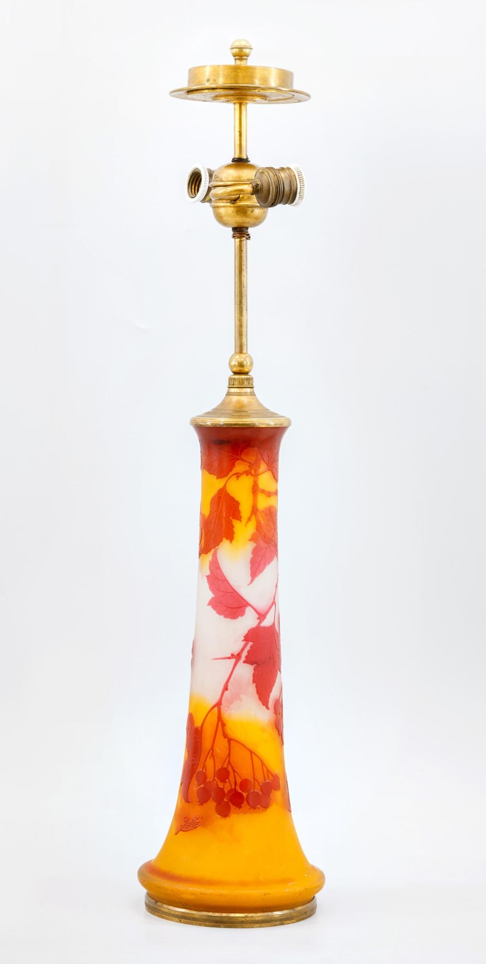 Старинная лампа в стиле модерн из многослойного цветного стекла Эмиль Галле