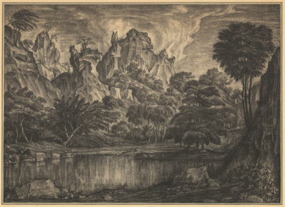 Автолитография «Пейзаж с озером»