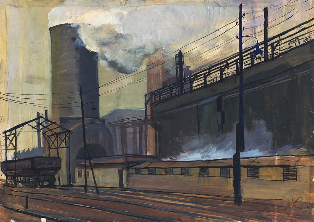 Темпера «Индустриальный пейзаж»