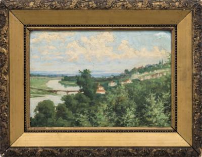Картина Русский городок на реке художник Малышев